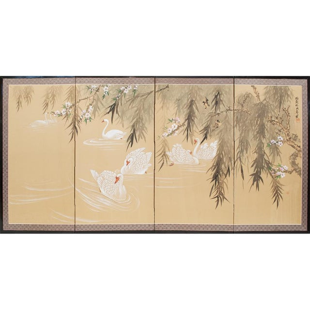 C. 1940s Chinoiserie Swan Screen For Sale - Image 12 of 13