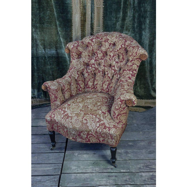 Napoleon III Pair of Tufted and Scrolled Back Armchairs For Sale - Image 3 of 11