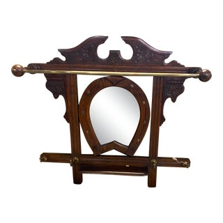 Late Victorian Horse Shoe Mirror Hall Tree For Sale