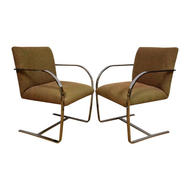 Cy Mann Chrome Flat Bar Lounge Chairs - a Pair - Image 1 of 9