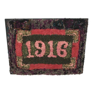 1916 Folky Mounted Hand-Hooked/ Shirred Rug For Sale