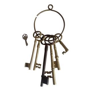 Oversize Brass Skeleton Keys - Set of 6 For Sale