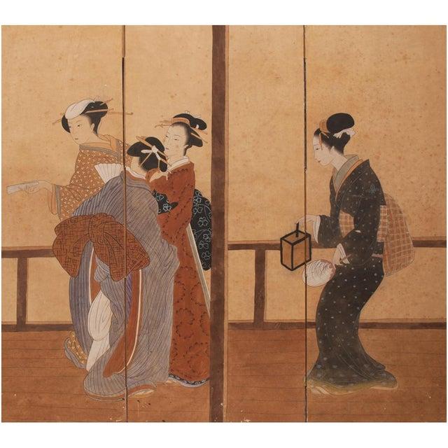 Asian Late Meiji Era Ukiyo-E Style Large Japanese Screen For Sale - Image 3 of 11