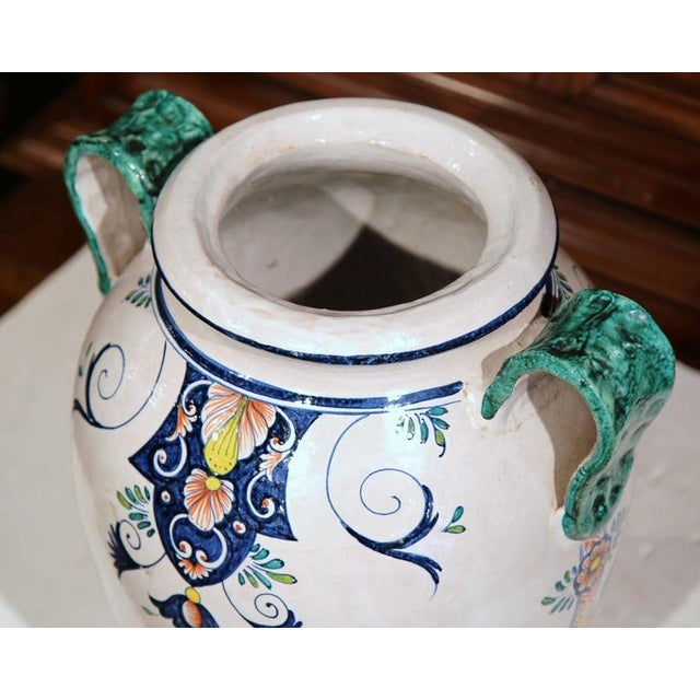 Ceramic French Ceramic Hand-Painted Vase For Sale - Image 7 of 9