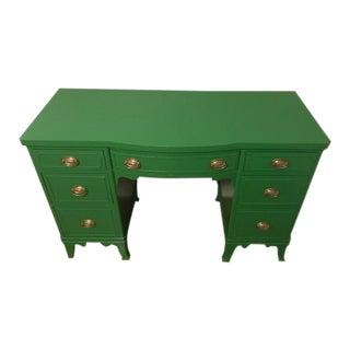 Kelly Green Solid Wood Knee Hole Desk