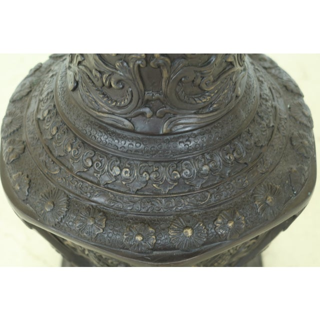 Traditional Maitland Smith Bronze Pagoda Form Lidded Urn For Sale - Image 3 of 10