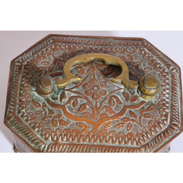 Metal Anglo-Indian Handcrafted Tinned Copper Metal Spices Caddy Box For Sale - Image 7 of 13