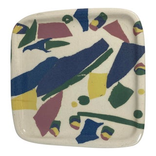 Vintage Postmodern 90s Artist Studio Pottery Ceramic Catchall Tray For Sale