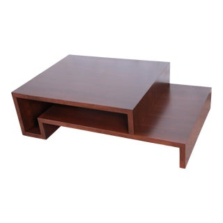 Lorin Marsh Modern Walnut Two-Tier Coffee Table, Newly Refinished For Sale