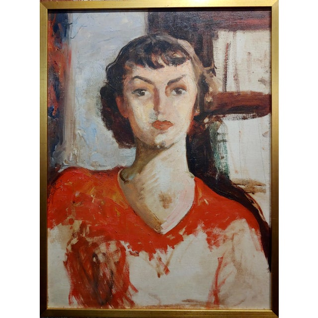 "Antonia Greene -1930s Portrait of a woman in Red -Oil painting oil painting on canvas circa 1930s frame size 18 x 25""..."