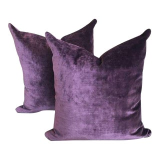 Modern Rubelli Contemporary Amethyst Velvet Pillows -A Pair For Sale