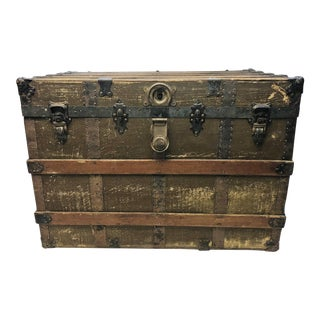Vintage Victorian Wood & Metal Brown Steamer Trunk
