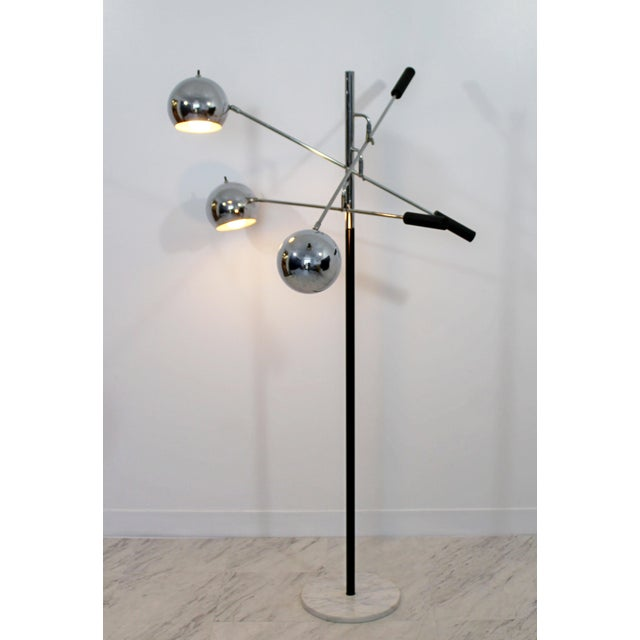 For your consideration is a fantastic floor lamp, with three adjustable chrome heads, on a white marble base, by Robert...