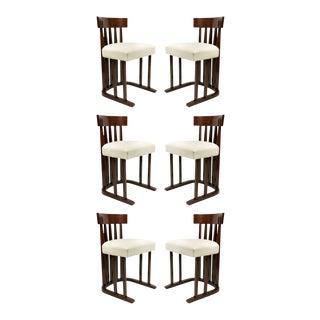 Set of 6 Austrian Secessionist Mahogany Side Chairs For Sale