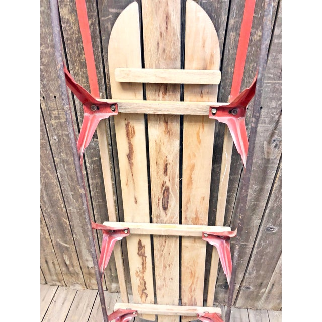 1960s Vintage Weathered Wood & Metal Runner Sled -- Flexible Flyer For Sale - Image 5 of 12