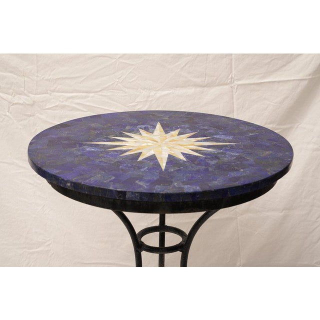 Boho Chic Mother of Pearl Compass Rose and Lapis Lazuli Pietra Dura Cafe Table For Sale - Image 3 of 7
