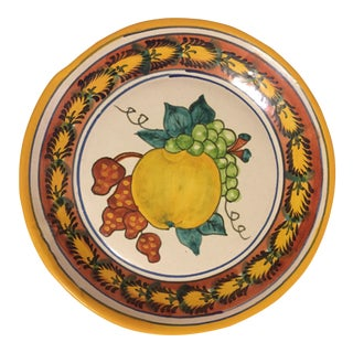 Antique Italian Majolica Terra Cotta Wall Plate With Fruit Painting For Sale