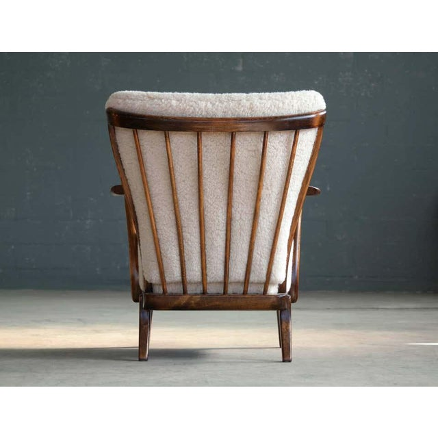 Slagelse Mobelvaerk Model 117 Lounge Chair in Lambswool Danish Midcentury For Sale In New York - Image 6 of 9