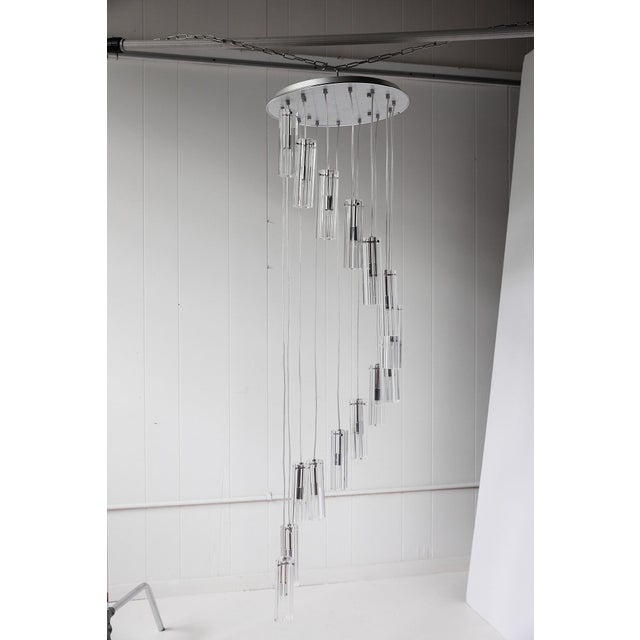 """Contemporary Cascading Glass Pendant Chandelier, 60"""" For Sale - Image 3 of 13"""