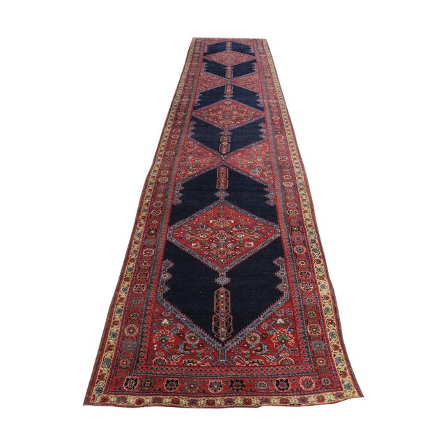 """Antique North West Persian Runner Rug - 3'5"""" X 16'5"""" - Image 1 of 5"""