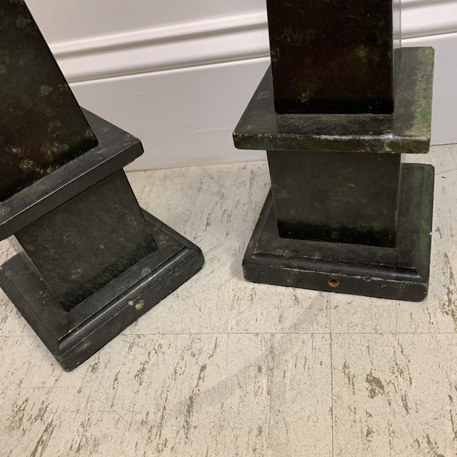 Malachite Marble Obelisks - a Pair For Sale - Image 9 of 13