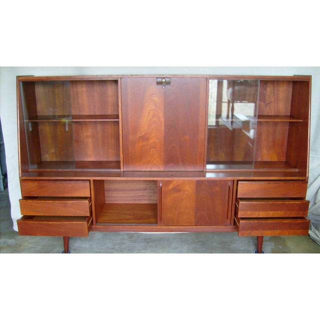 7 Ft. Mid-Century Danish Modern Teak Credenza Dry Bar Hutch For Sale - Image 4 of 12