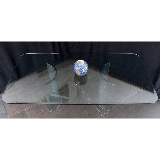 Mid-Century Modern Curved Glass Base Thick 3/4 Glass Top Large Dining Conference Table For Sale - Image 3 of 9