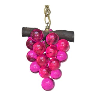 Vintage Lucite Magenta Grape Light Fixture Pendent For Sale