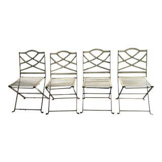 1940s Vintage Heavy Metal Folding Garden Chairs- 4 Pieces For Sale