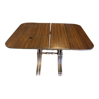 Vintage Wood Drop Leaf Dining Banquet Table For Sale