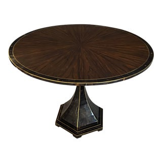 Maitland-Smith Mahogany Table With Tiled Pedestal Stand & Gold For Sale