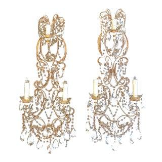 Italian Beaded Brass Sconces C. 1950s - a Pair For Sale