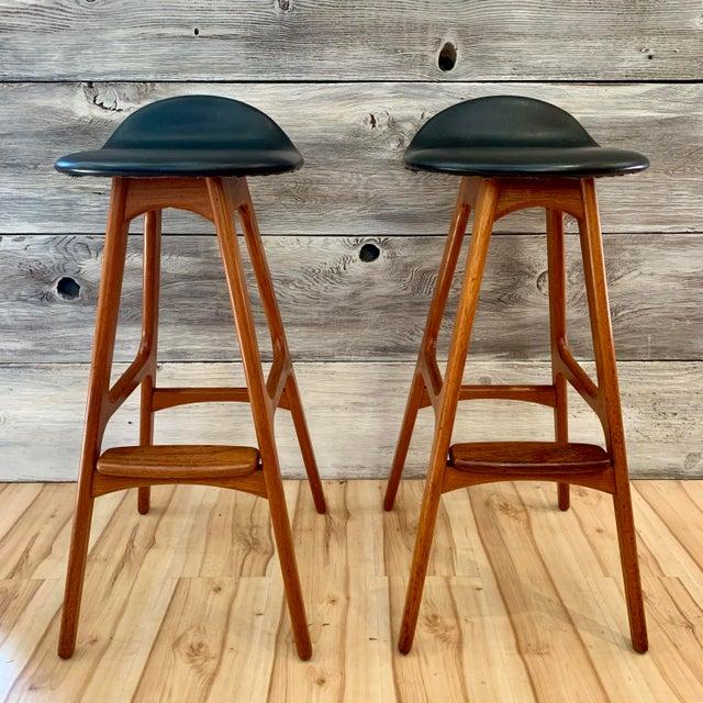 Danish Modern Erik Buch Danish Modern Teak Bar Stools - a Pair For Sale - Image 3 of 13