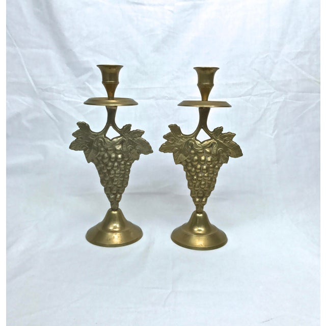 Brass Grape Cluster Candlesticks, A-Pair For Sale - Image 12 of 12