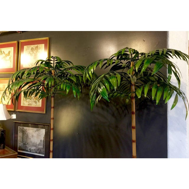 Mid-Century Modern Pair of Tall Regency-Style Tole Palm Trees For Sale - Image 3 of 5