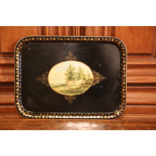 19th Century French Napoleon III Black and Gilt Tole Tray With Pastoral Scene For Sale - Image 4 of 7