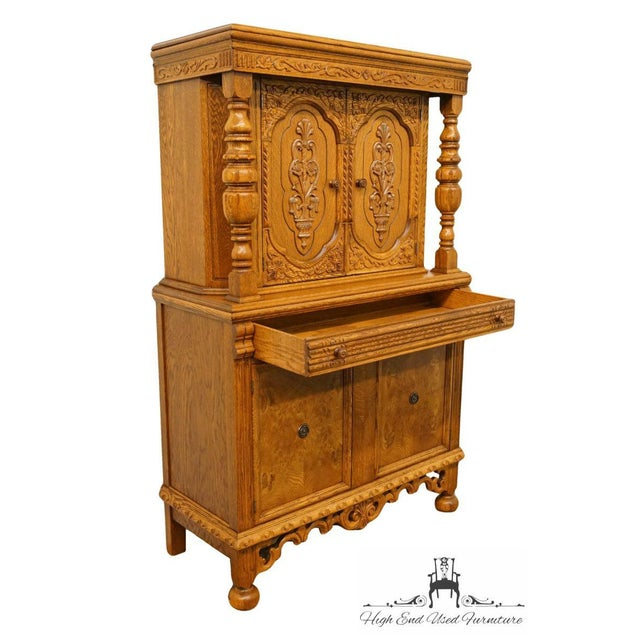 Brown 1920's Antique Jacobean Gothic Revival Solid Oak Cupboard For Sale - Image 8 of 13