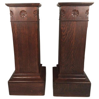 1900s Vintage Arts & Crafts Period Carved Oak Pedestals- A Pair For Sale