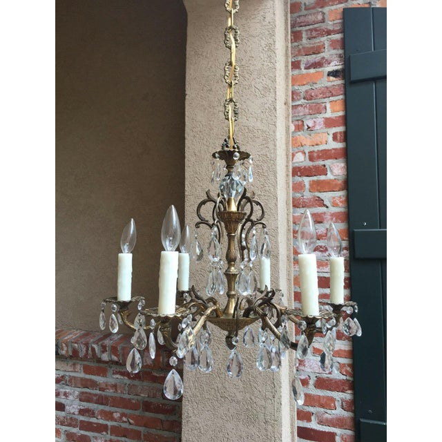 Vintage Six Light French Brass and Crystal Chandelier For Sale - Image 10 of 13