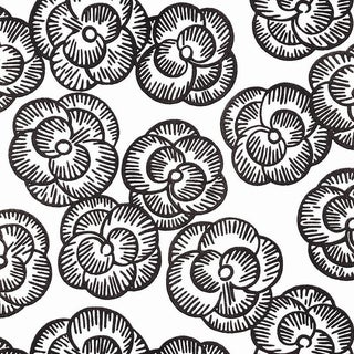 Schumacher Vogue Living Mona Pattern Floral Wallpaper in Blackwork - 2-Roll Set (11 Yards) For Sale