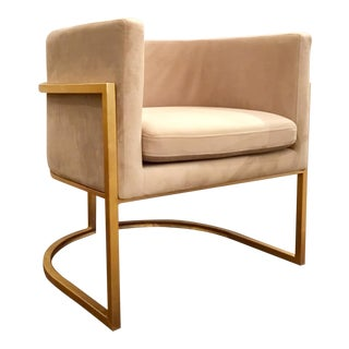 Worlds Away Modern Cream and Gold Barrel Back Jenna Lounge Chair For Sale