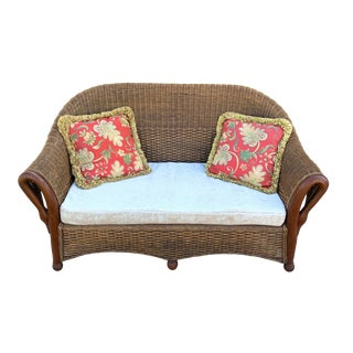 1940s Vintage Wicker and Bentwood Settee For Sale