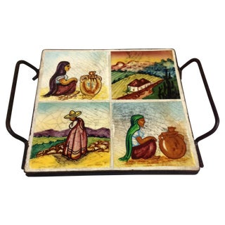 Vintage Mid Century Tile Tray For Sale