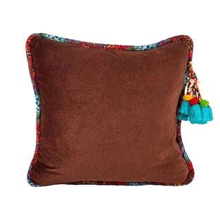 Brown / Bisnagar Stripe Velvet Throw Pillow For Sale