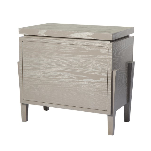 Contemporary Philippe Nightstand With Doors (Cerused Latte) For Sale - Image 3 of 4