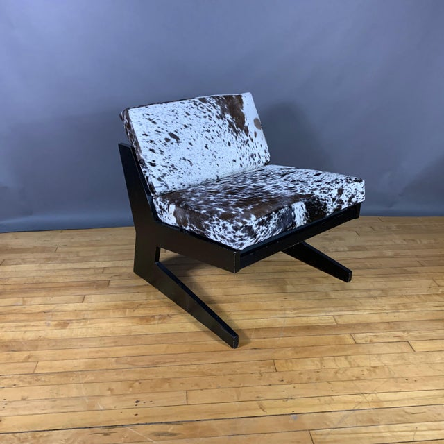 Wood Pair Cowhide & Black Lacquered Lounge Chairs, Germany 1980 For Sale - Image 7 of 10