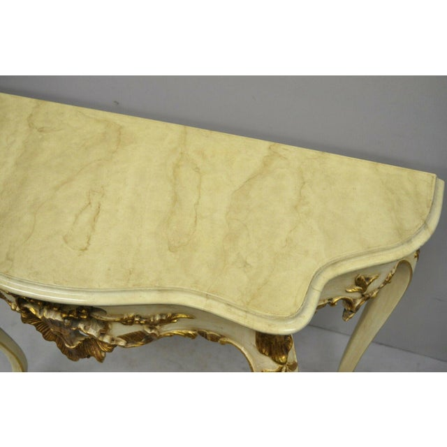 20th Century French Louis XV Rococo Cream & Gold Gilt Console Table For Sale In Philadelphia - Image 6 of 11