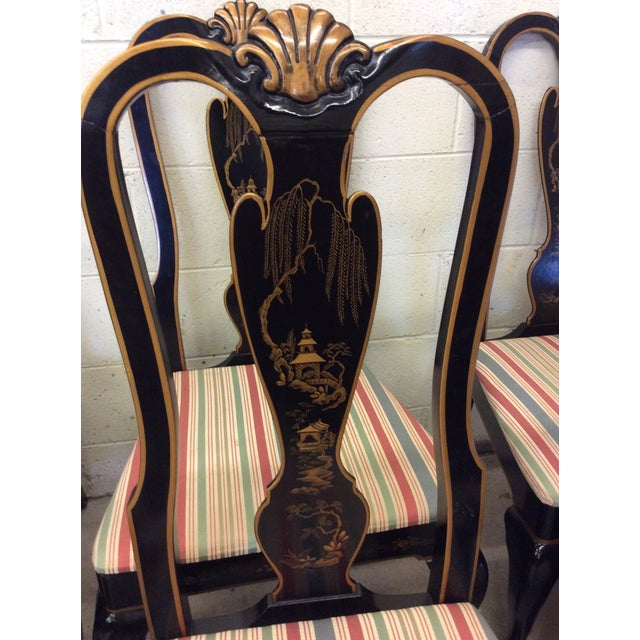 Drexel Heritage Black Lacquer Asian Style Dining Chairs - A set of 6 For Sale In Richmond - Image 6 of 11