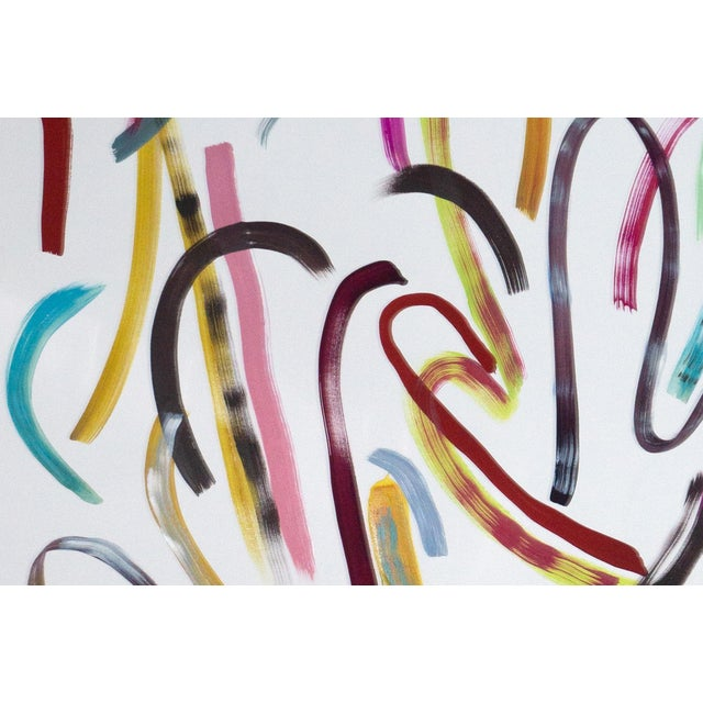 2020s Pastel Ribbon No.4, Abstract Painting Vivid Palette on Watercolor Paper, Vibrant Composition, 2020 For Sale - Image 5 of 9