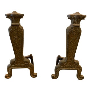 Traditional Antique Iron Andirons With Filigree Detail - a Pair For Sale